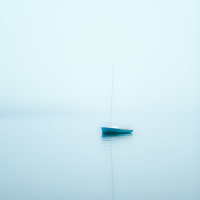 """Sailboat in foggy weather, Cape Cod, Massachusetts, USA."" stock image"