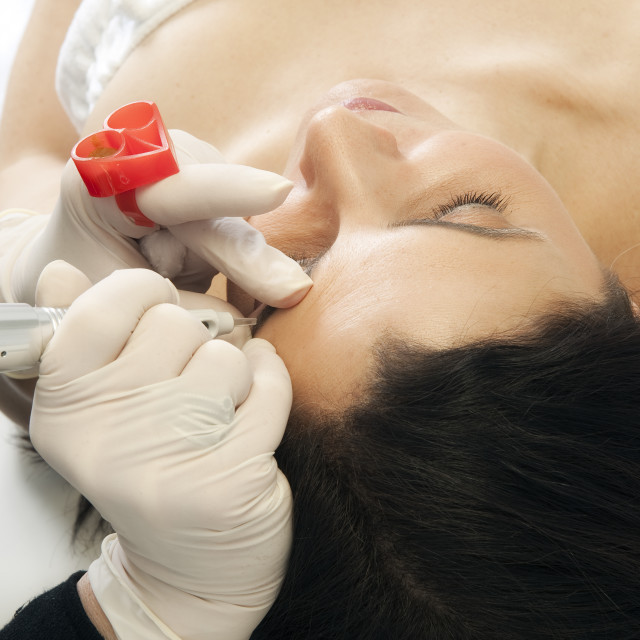 """""""Micropigmentation procedure for the eyebrows, permanent make-up."""" stock image"""