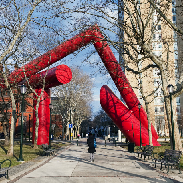 """Sculpture on the campus of the University of Pennsylvania, Philadelphia, Pennsylvania, USA"" stock image"