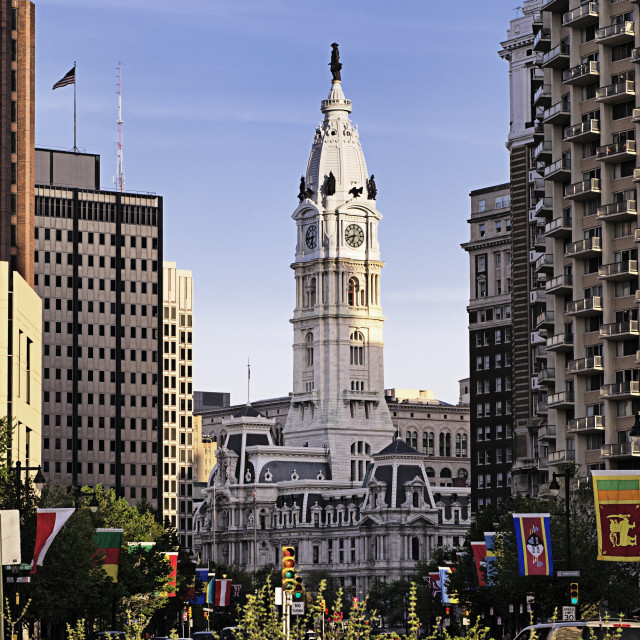 """Statue of William Penn atop Philadelphia City Hall, Philadelphia, Pennsylvania"" stock image"