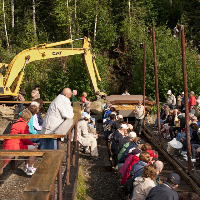 """Gold mining and panning demonstration at the Eldorado Gold Mine, Fairbanks, Alaska"" stock image"