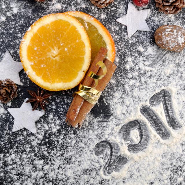 """2017 written on the flour"" stock image"