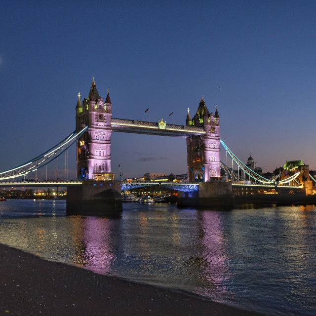 """Tower Bridge at night."" stock image"