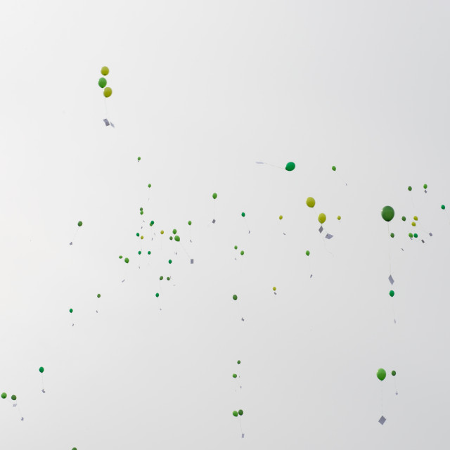 """Green balloons with letters and messages in the air"" stock image"
