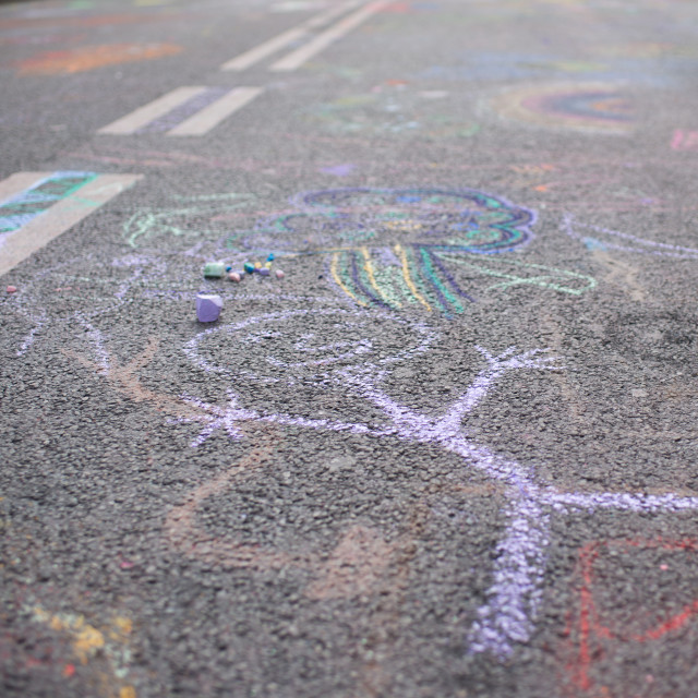 """Children's drawing with chalk on a street"" stock image"
