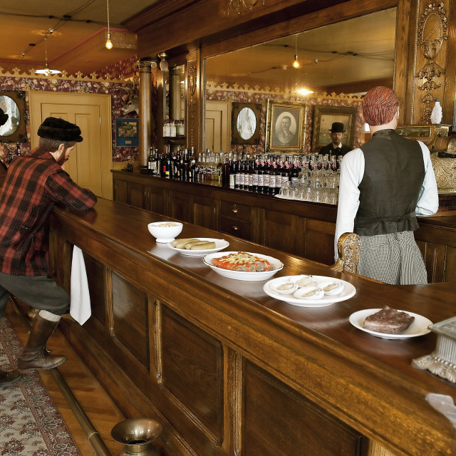 """Restored Mascot Saloon Exhibit and Moore House, Skagway, Alaska"" stock image"