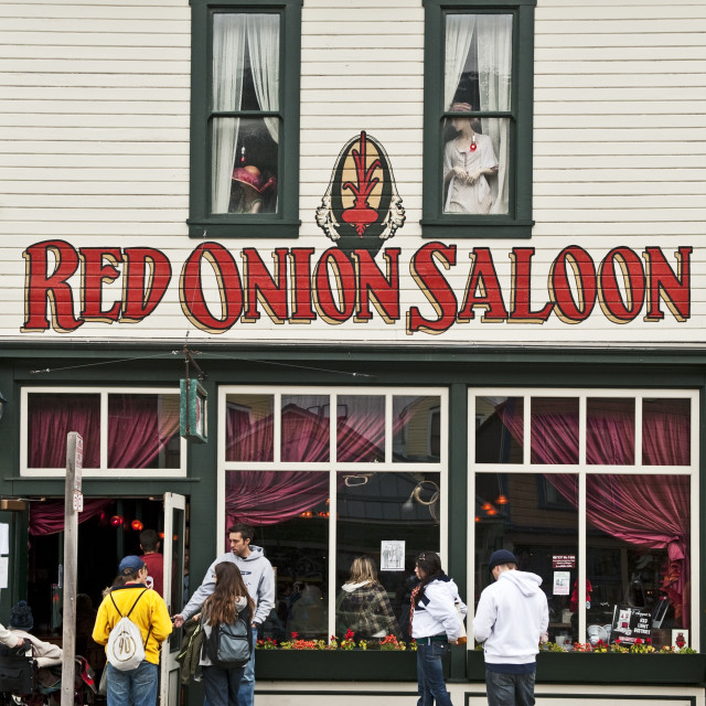 """Red Onion Saloon, Skagway, AK, Alaska"" stock image"