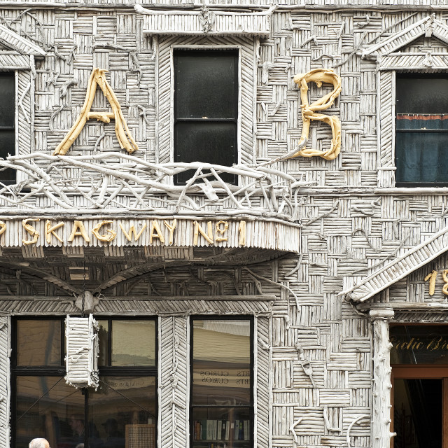 """Arctic Brotherhood Hall, circa 1899, Skagway Alaska. The facade is made of pieces of driftwood."" stock image"