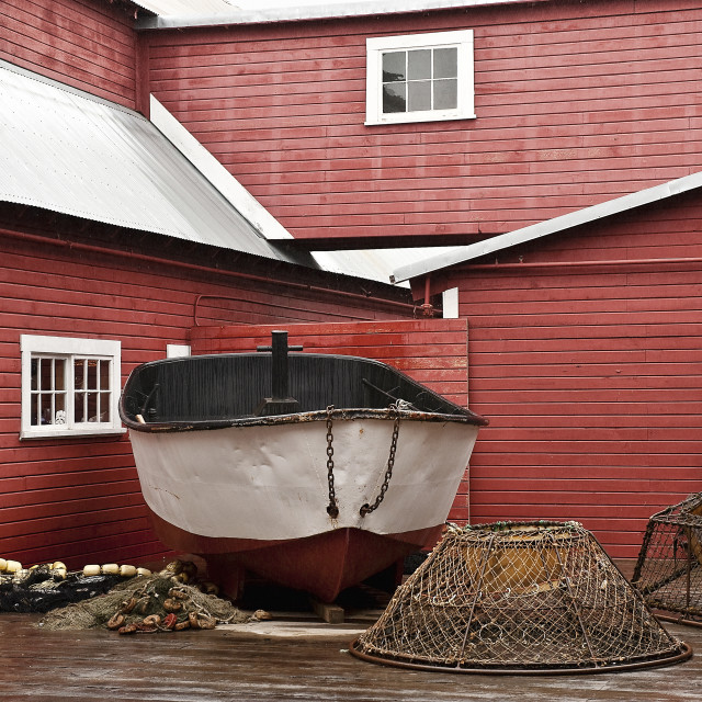 """""""Fishing boats and and crab traps displayed at Icy Straight Point historic cannery, Hoonah, AK, Alaska, USA"""" stock image"""