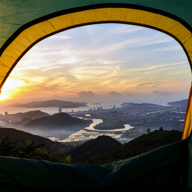 """Nha Trang view from the tent"" stock image"