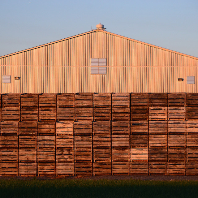 """Crates and Barn"" stock image"