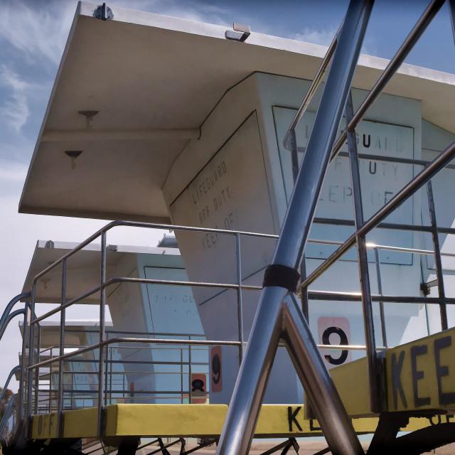 """""""Lifeguard Towers"""" stock image"""