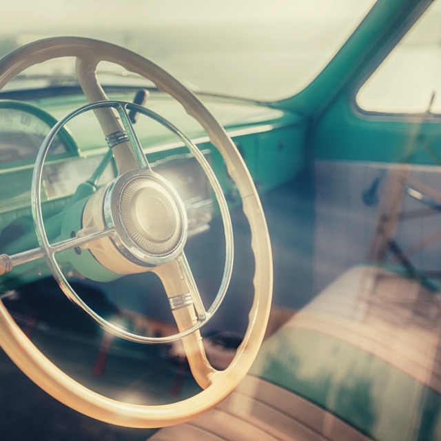 """Interior of classic vintage car"" stock image"