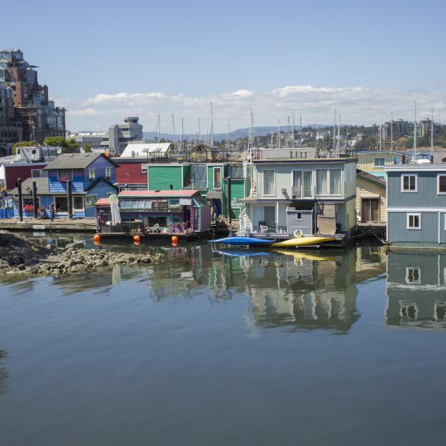 """""""Colorful houseboats in Victoria, Canada"""" stock image"""