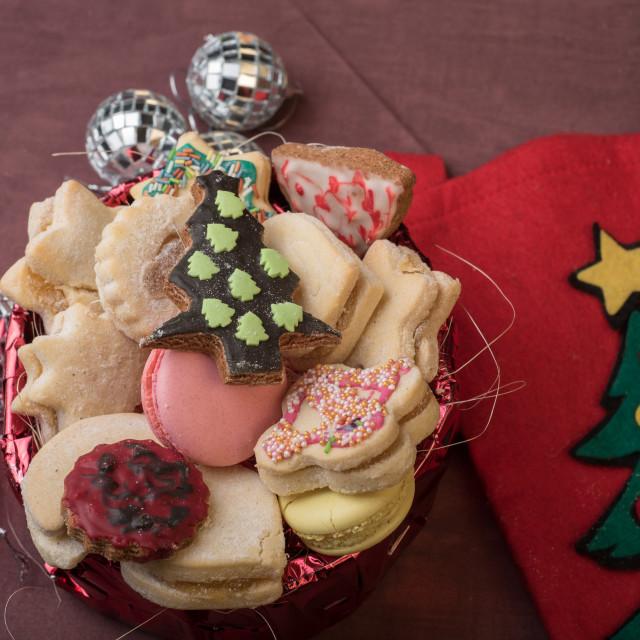 """""""Christmas cookies on table"""" stock image"""