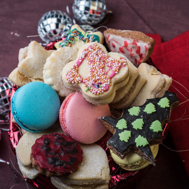 """Christmas cookies and decorations"" stock image"