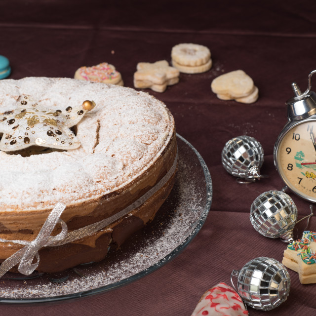 """Christmas cake and decorations"" stock image"
