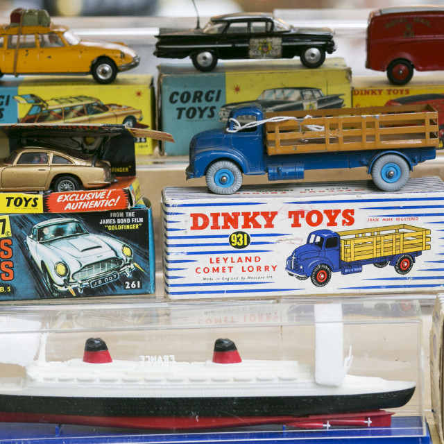 """Old Dinky and Corgi toy cars, lorries and ships."" stock image"