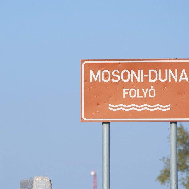 """""""Signboard for Mosoni-Duna River"""" stock image"""