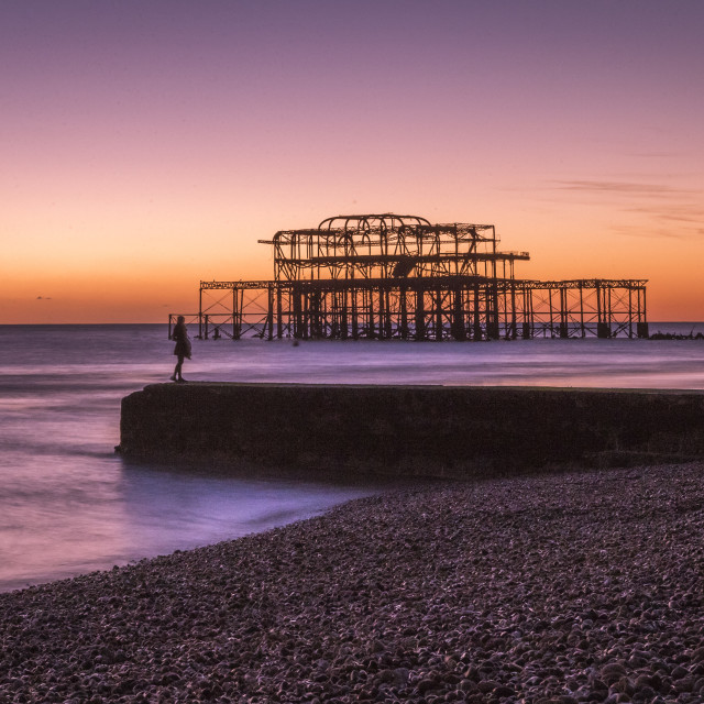 """Sunset On The Old Pier"" stock image"