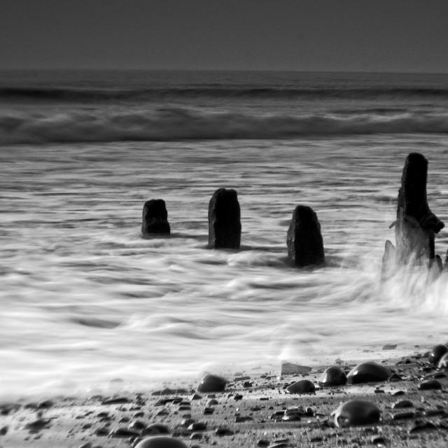 """Misty waves on the Groynes"" stock image"