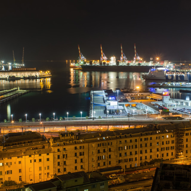 """""""Port Of Genoa From Above"""" stock image"""