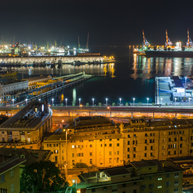 """Maritime Port Of Genoa At Night"" stock image"