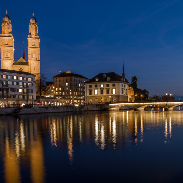 """""""Zurich River front at night"""" stock image"""