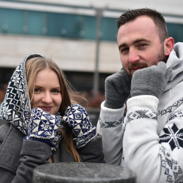 """cute couple outdoor on cold weather"" stock image"