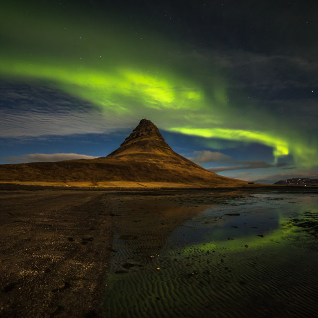 """Northern Lights at Kirkjufell"" stock image"