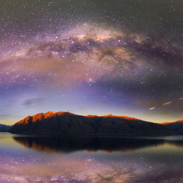 """The night Sky over Lake Hawera, Queenstown NZ"" stock image"