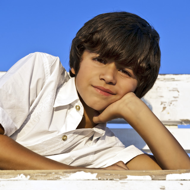 """""""Thoughtful young boy."""" stock image"""