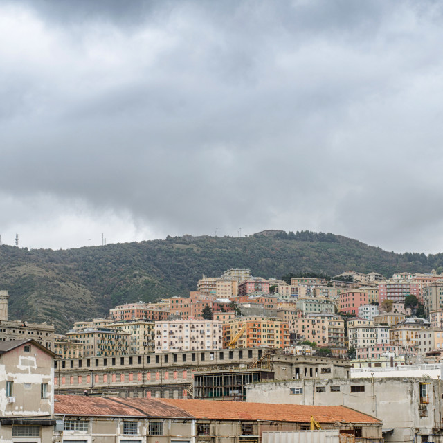 """""""Genoa Under The Cloudy Sky"""" stock image"""
