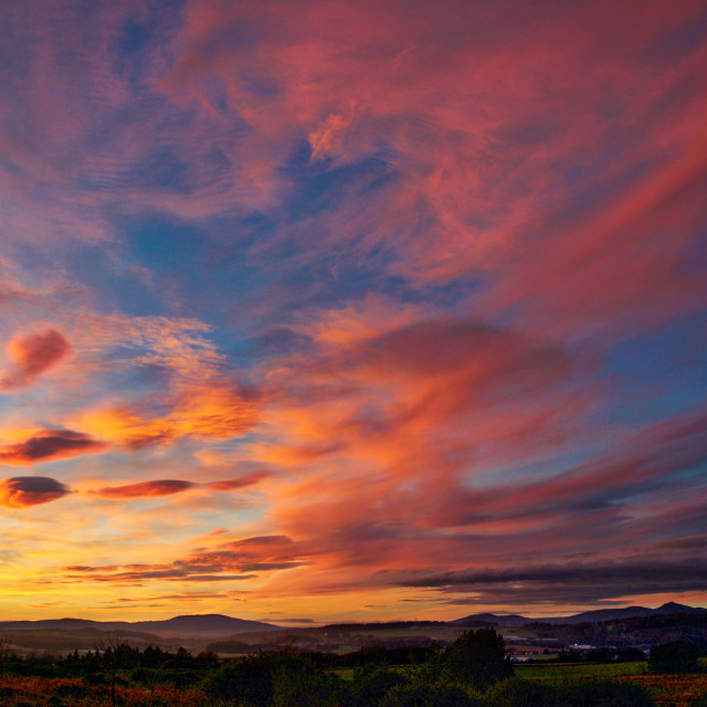 """Sunset sky over Bennachie"" stock image"