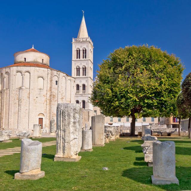 """Historic roman artefacts on Zadar square"" stock image"