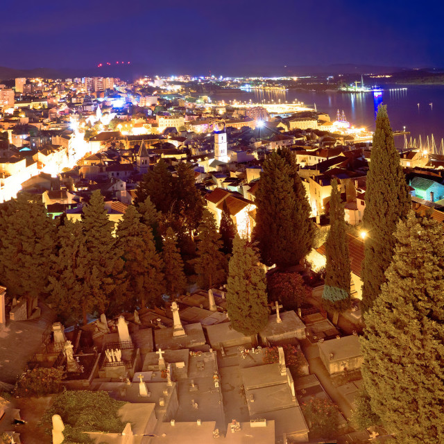 """Town of Sibenik evening panorama"" stock image"