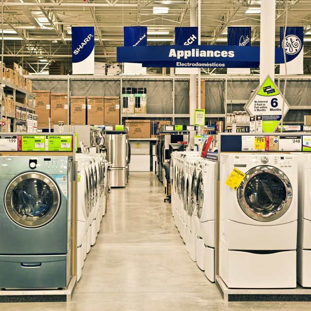 """""""Washers and dryers in a Lowes superstore."""" stock image"""