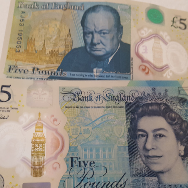 """New Five Pound Notes"" stock image"