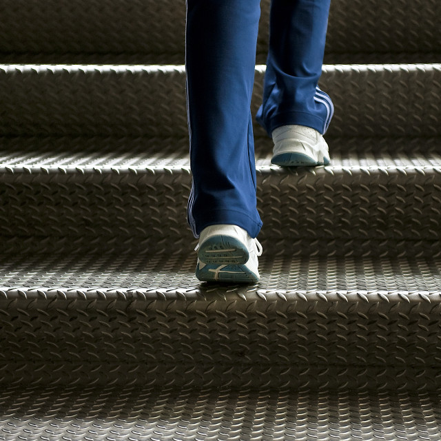 """Walking up steps."" stock image"