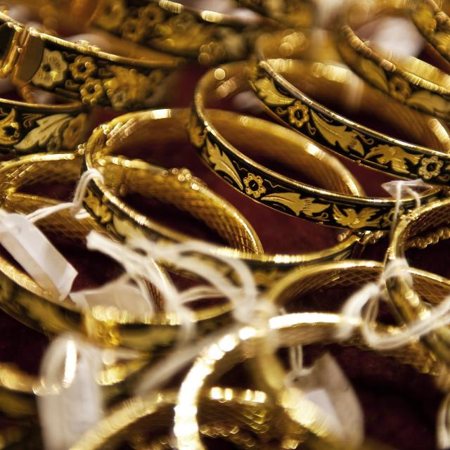 """Inlaid gold bracelets, Toledo, Spain"" stock image"