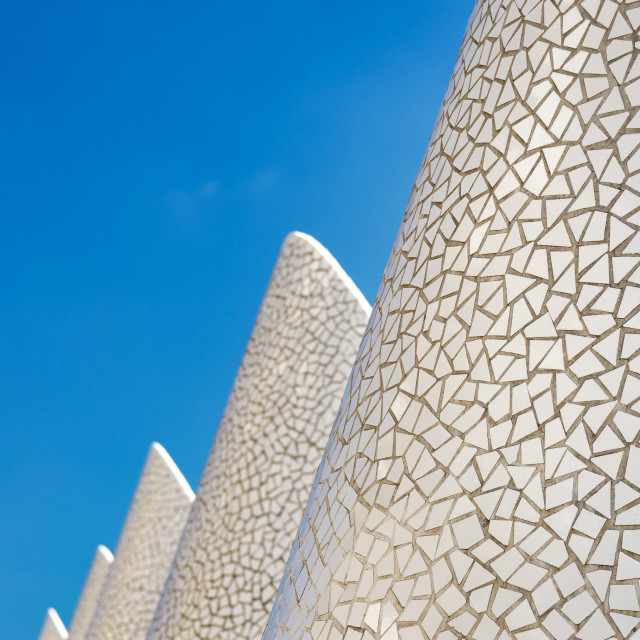 """White mosaic against blue sky"" stock image"