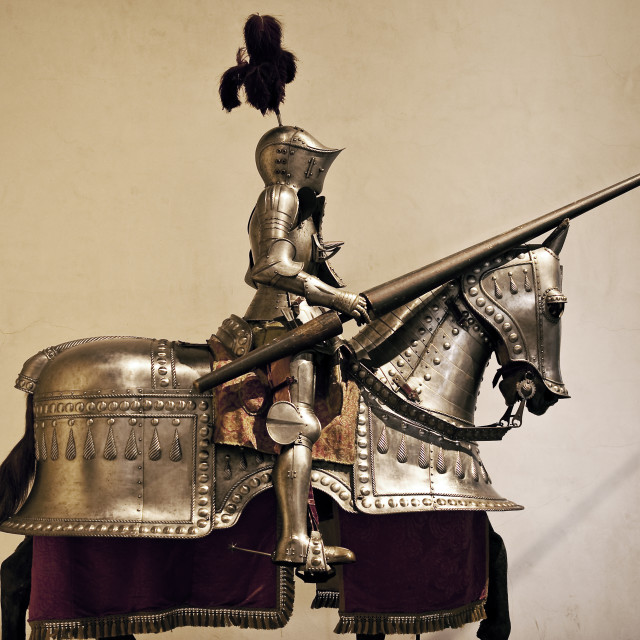 """""""Knight and horse in suit of armor"""" stock image"""