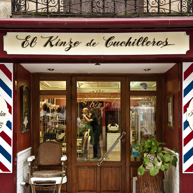 """Barber shop, Madrid, Spain"" stock image"
