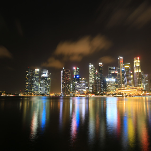 """""""Nightscape of skycrapers in singapore"""" stock image"""