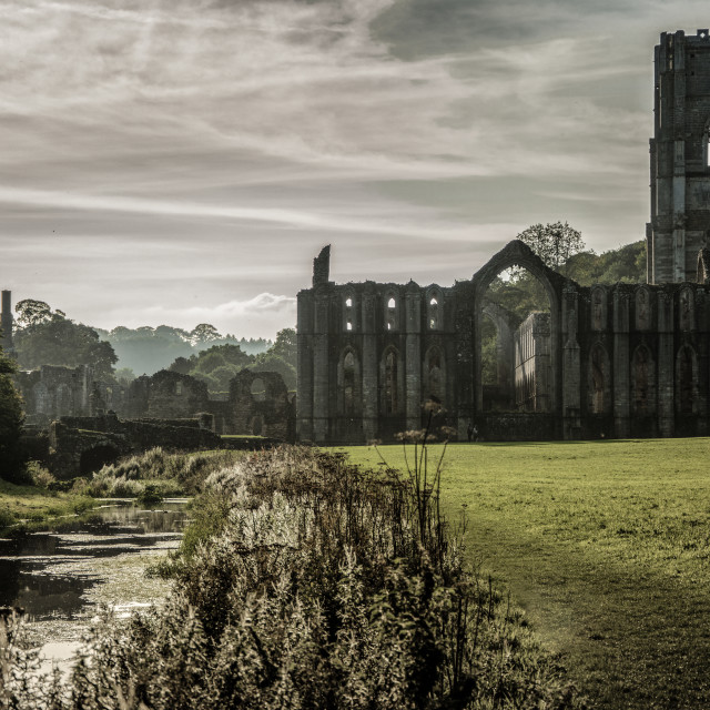 """Fountains Abbey in yorkshire, England UK"" stock image"