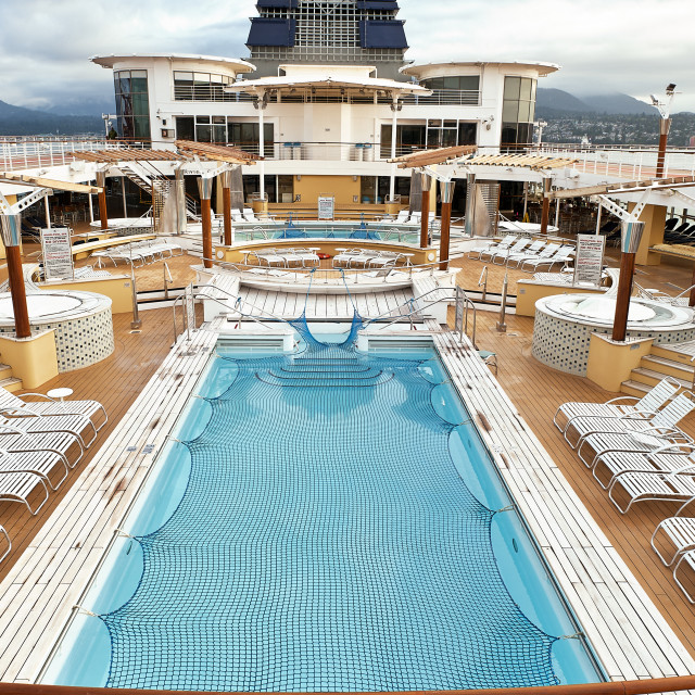 """Deck and pool aboard the Celebrity Millenium Cruise ship."" stock image"