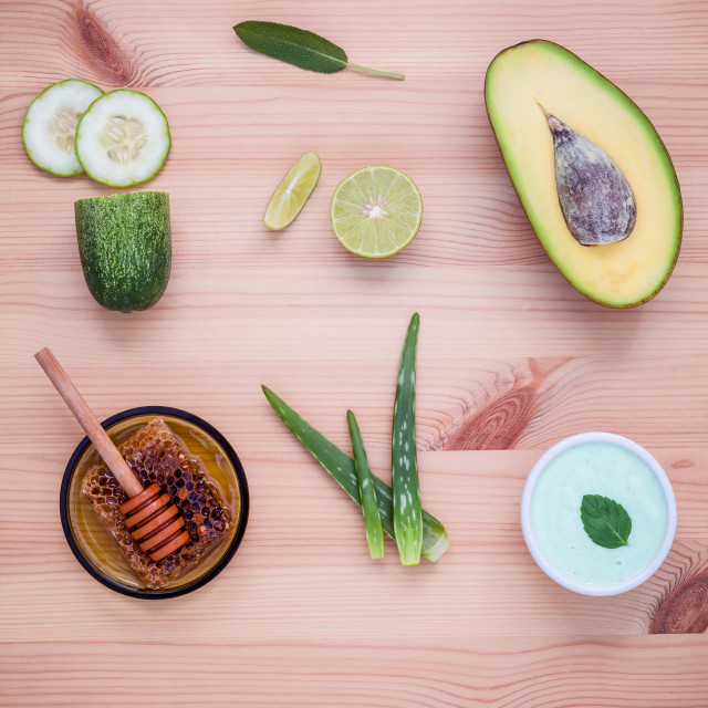 """""""Homemade skincare and body scrubs with natural ingredients avocado ,aloe vera..."""" stock image"""