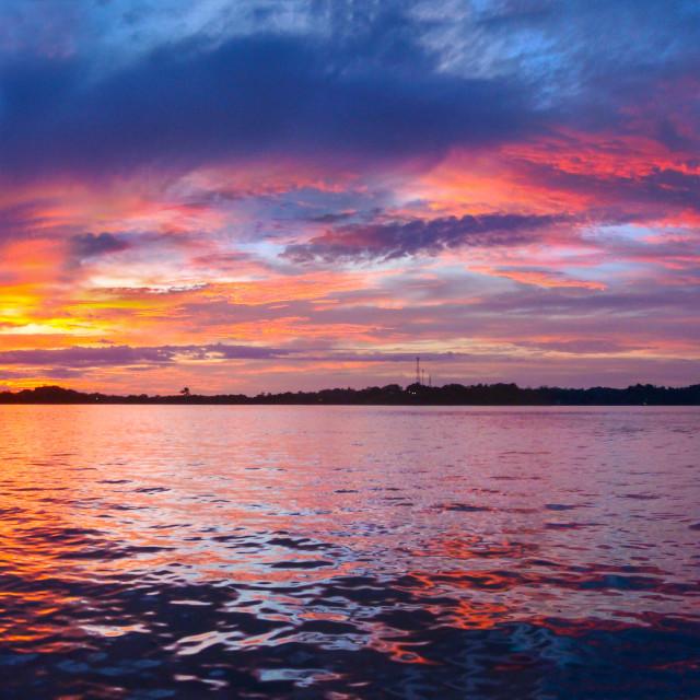 """Sunset at Bocos Del Toro"" stock image"