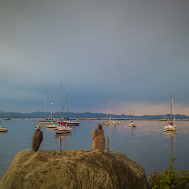 """Lake Champlain in the evening"" stock image"