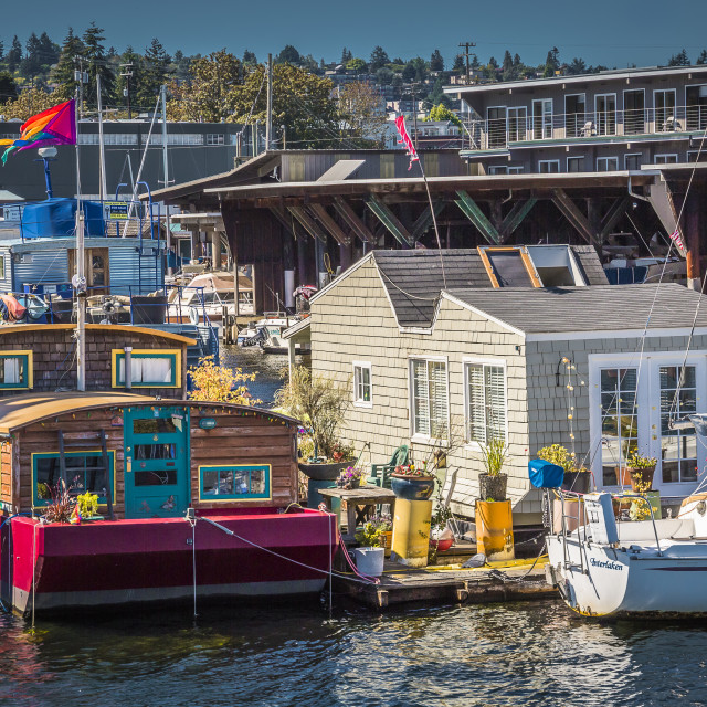 """Houseboats in Seattle"" stock image"